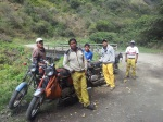 Bolivian workers with their Jawa motobikes