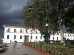 The white colonial buildings of Popayan contrast well to the ever-present dark skies
