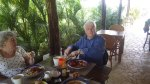 Dad enjoying a Full English breakfast made by me.