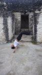 Break dancing Red Cross worker, Tikal, Guatemala.