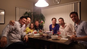 Dinner party with new friends at Peter's place.