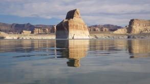 The Lone Rock at Lone Rock, Utah.