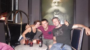 Me and new friends in Las Vegas. German Melanie and Ozzy biker Tom who is heading south. I told him he'd have fun!